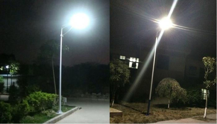PowerSave street lighting system with 70Wp photovoltaic panel, included battery and 30W LED-big